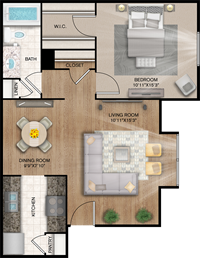 Atlanta - One Bedroom / One Bath - 643 Sq. Ft.*