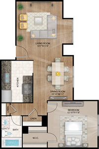 Charleston - One Bedroom / One Bath - 643 Sq. Ft.*