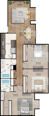 Jamestown - Three Bedrooms / Two Baths - 1,067 Sq.Ft.*
