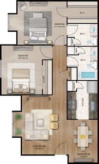 Richmond - Two Bedrooms / One and 1/2 Bath - 816 Sq.Ft.*