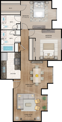 Savannah - Two Bedrooms / One and 1/2 Bath - 816 Sq. Ft.*